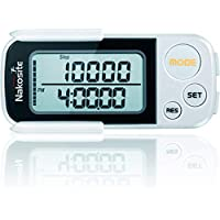 NAKOSITE PED2433 Best Walking 3D Pedometer with Clip and Strap, Fitness Activity Step Counter, Calorie, Distance in Km and Miles, Large Display, 30 Days Memory, Beautiful!