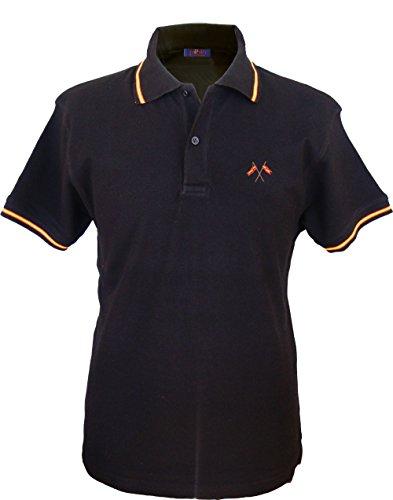 Pi2010 - Polo Hombre Negro con Bordado Bandera de España en Pecho, Negro, 100% algodón