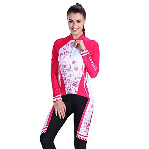 SonMo Damen Radfahren Jersey Set Fahrradbekleidung Set Schutz Radjacke + Fahrradhose Langarm Radtrikot mit Sitzpolster Reflektorstreifen Rosa Weiß S