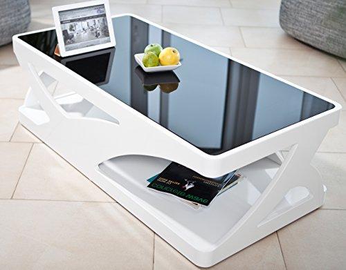 Couch-Tisch weiß Hochglanz aus MDF und Glas 120x60cm recht-eckig | Aventur | Schlichter Wohnzimmer-Tisch in Angesagter Hochglanz Lackierung in Weiss mit schwarzer Glasplatte 120cm x 60cm -