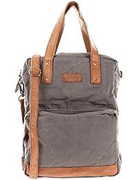 LECONI Rucksack & Umhängetasche in einem für Damen & Herren Retro Backpack Canvas + echtes Leder Bodybag DIN A4 Schultertasche 2in1 Freizeitrucksack 28x37x13cm LE1014-C