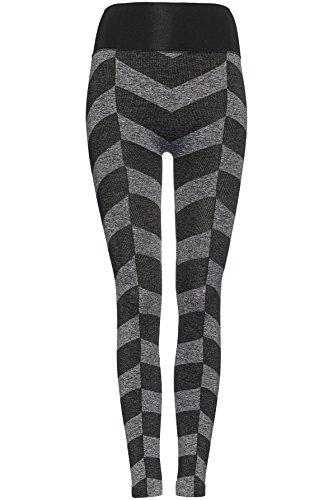 FIND Sport Leggings Damen Grau (Black/Grey Marl)