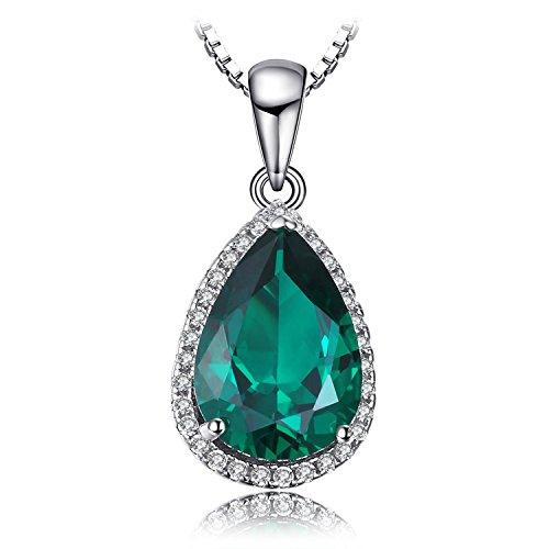 Jewelrypalace 3.9ct Grün Simulierte Nano Tropfenschliff Russisch Smaragd Anhänger Halskette Kette 925 Sterlingsilber