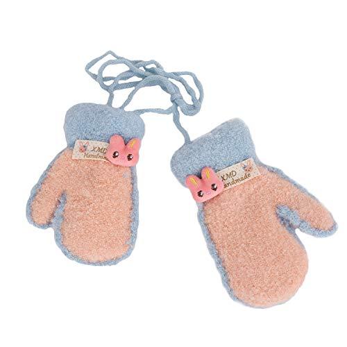 YSXY Niedliche Kinder Baby Fäustlinge Winter Warme Gestrickte Handschuhe mit Band Gefüttert Fausthandschuhe Strickhandschuhe für 1,2,3 Jahre Kleinkind Jungen Mädchen, Pink, Einheitsgröße (Baby-fäustlinge Mit Bändern)