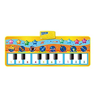 8 Selectable Animal Sounds Piano Mat, Musical Carpet Baby Toddler Activity Gym Play Mats, Baby Early Education Music Piano Keyboard Blanket Touch Play Safety Learn Singing funny Toy for Kids