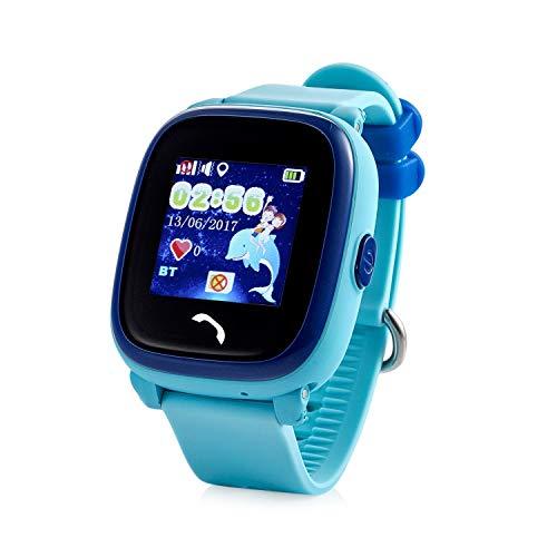 JBC GPS-Telefon Uhr - Modell 2019 - Kleiner Pirat - Wasserdicht OHNE Abhörfunktion, für Kinder, SOS Notruf+Telefonfunktion, Live GPS+LBS Positionierung, funktioniert weltweit, (Blau)