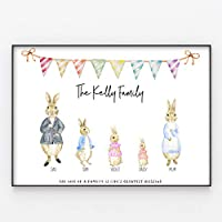 Rabbits/Bunnies Family Print, Wall Art Gift for Home Personalised in A3 or A4