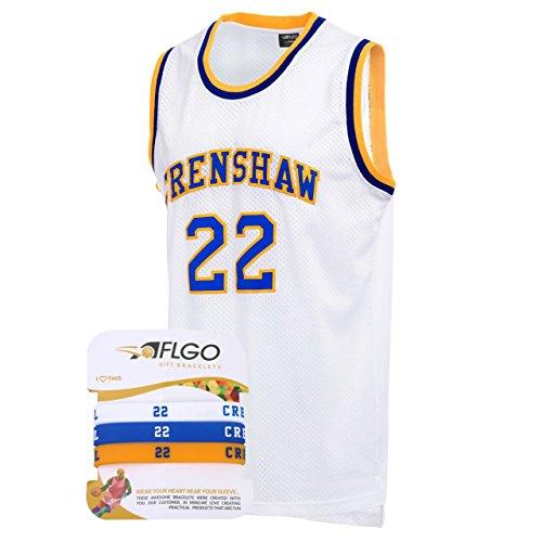 aflgo Omar Epps Quincy McCall 22Crenshaw High School weiß Basketball Jersey enthalten Set Armbänder S-XXL, weiß (Basketball-jersey-high-school)