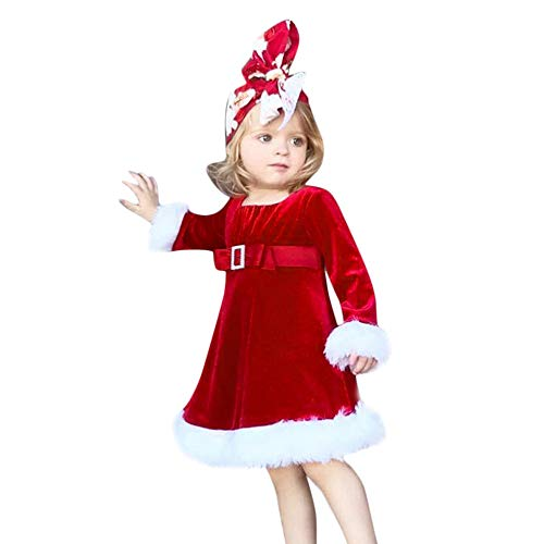 (Riou Weihnachten Baby Kleidung Set Pullover Outfits Winteranzug Kinder Baby Mädchen Deer Gestreifte Prinzessin Kleid Weihnachten Outfits Kleidung (110, Rot D))