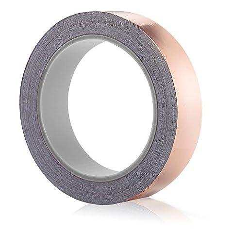 Ruban de Cuivre, PEMOTech [Paquet de 1] Ruban en feuille de cuivre avec adhésifconducteur (26mm X 20m) - Répulsif d