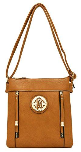 Big Handbag Shop due tasche frontali con zip lunga tira messenger a tracolla (Light Tan (BH581)) El Envío Libre Bajo Precio De Envío De Pago Real Confiable En Línea 6TQWdioKTs