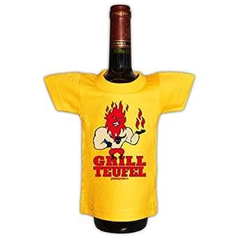 Mini T-Shirt für die Flasche <-> Grill Teufel <-> New Year Sylvester Geschenk Sekt Wein