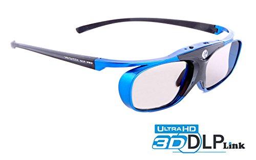 Hi-SHOCK® DLP Pro Blue Heaven | DLP Link 3D Brille für 3D DLP Beamer von Acer, BenQ, Largo, Optoma, Viewsonic, LG [Shutterbrille | 96-144 Hz | Akkubetrieb | 32g | DLP Link | Blau]
