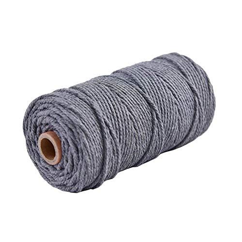 Hacoly Natürliche Makramee Schnur Baumwollgarn Baumwollseil Makramee Baumwollkordel Handgefertigt DIY Dekoratives 100% naturliches Baumwolle Baumwollschnur(Grau) - Baumwollgarn Größe 3