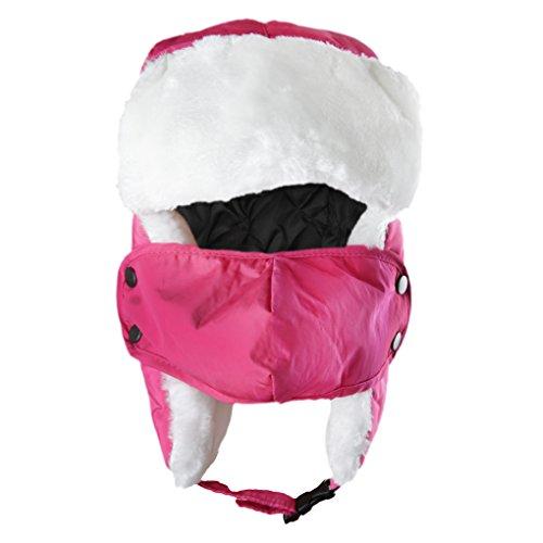 BXT Winter Kinder Fliegermütze Wärmemütze Ohrenschützer Schlittschuhlaufen Skifahren Hut Pilotenmütze mit Gesichtmasken (Rosa)