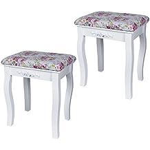 Songmics Sgabello Trucco 2 sgabelli per tavolo da trucco toeletta bianco RDS502H