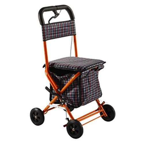 Andador de hierro rojo Colores Walker plegable con ruedas (4ruedas–Andador (con asiento y cesta