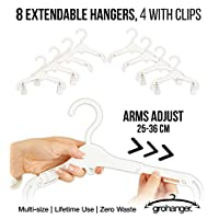 Grohanger Baby Hangers. 8 Extendable Hangers 4 with Clips. Baby to Adult Size.