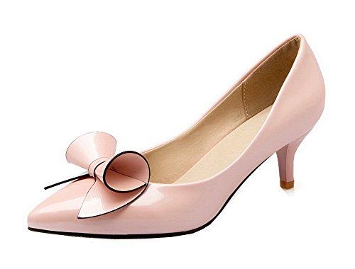 VogueZone009 Donna Pelle di Maiale Punta Chiusa Tacco Medio Tirare Puro Ballet-Flats, Rosa, 42