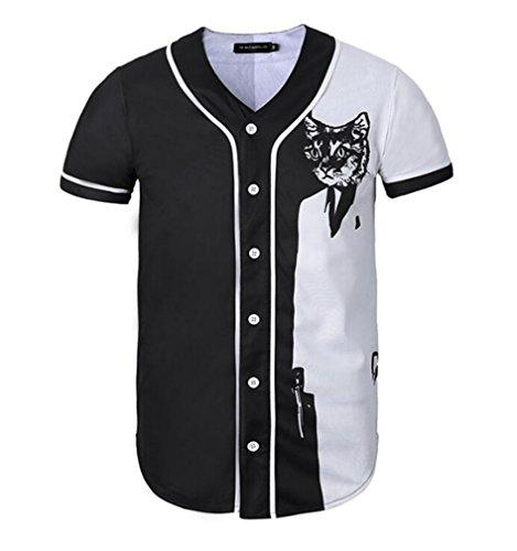 STEAM PANDA Camiseta De Manga Corta Impresa 3D Unisex Camiseta Camisa De Béisbol,XXL