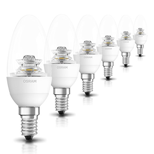 OSRAM LED Superstar Classic B / LED-Lampe in Kerzenform mit E14-Sockel / Dimmbar / Ersetzt 40 Watt / Klar / Warmweiß - 2700 Kelvin / 6er-Pack -