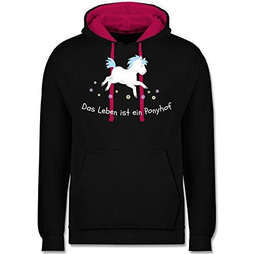 Pferde - Das Leben ist ein Ponyhof - Kontrast Hoodie Schwarz/Fuchsia