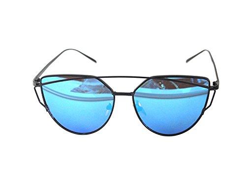 Arbeiten Sie Frauen Katzenaugen Sonnenbrille Klassische Marken Designer Twin Beams Sonnenbrille Dame Beschichtung Spiegel Flat Panel Objektiv Gläser Oktoberfest (Schwarzer Rahmen / Blau Linse)