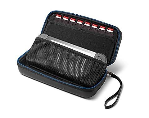 Supremery Nintendo Switch Case Tasche Hülle mit herausnehmbaren Teil , Reißverschluss und Handschlaufe - Wasserabweisend in Blau/Schwarz (Neue