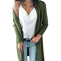 Cárdigans para Mujer Suéter,JiaMeng Bolsillos sólidos de Punto suéter Largo Abrigo Tops Blusa con Capucha suéter Abrigo