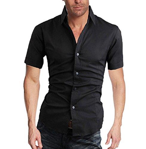 Herren Sommer Schlicht Business Freizeit Hemden Kurzarm Einfarbig Slim Fit Schwarz
