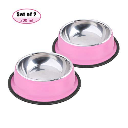 Soleebee Cuencos Rosados para Mascotas de Acero Inoxidable para Perros Pequeños Perros Antideslizante Juego de Tazón para Perros de 2 (200ML)