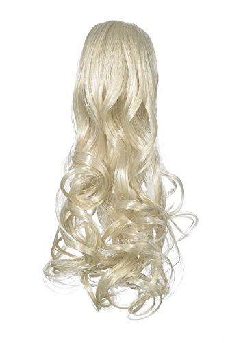 Love Hair Extensions - LHE/N/GUSHYBIRD/CC/60 - Prime de Fibres Gushybird - Pince Crocodile - Queue de Cheval - Couleur 60 - Blond Pur