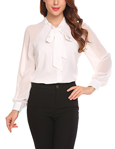 zhenwei Women Chiffon Blouses Long Sleeve Tops Ladies Elegant School Work Bow Tie Neck Shirt Black White Blue
