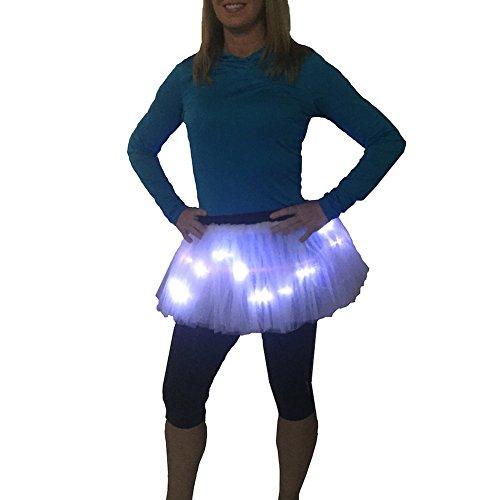 Roten Jasmin Outfit Kostüm - GLITTER GIRL Damen Lauf-Tutu mit LED-Beleuchtung, leuchtet Nacht, 5K, Einheitsgröße, Damen, weiß