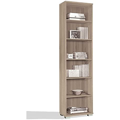 Estantería librería biblioteca de pie alta color cambrian, estantes regulables, gruesos de 22MM, para oficina, despacho o estudio. 199cm altura x 51cm ancho x 33cm fondo