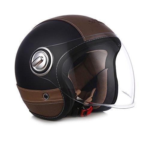 "Soxon · SP-888 Pro ""Urban Black"" (Schwarz) · Jet-Helm · Mofa Retro Roller Motorrad-Helm..."