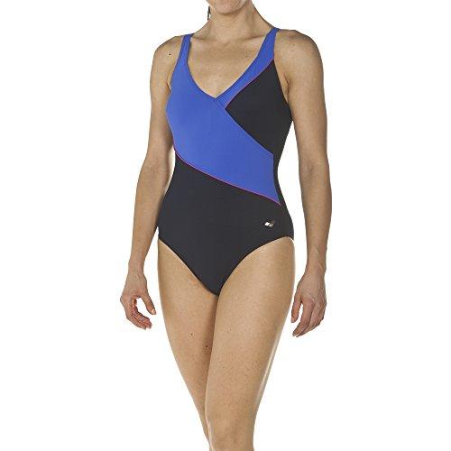 arena Damen Bodylift Badeanzug Topaz B-Cup (Shapingeffekt, Figurformend, Schnelltrocknend, UV-Schutz UPF 50+), Navy-Bright Blue-Rose Violet (769), 44 Blue Rose Cup
