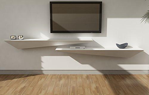 Étagère Mur Design en bois laqué blanc mat cm 160x30 (à gauche)