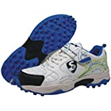 SG Century 2.0 Cricket Studs, Size 5 (White/Blue)