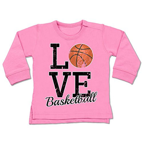 Sport Baby - Love Basketball - 18-24 Monate - Pink - BZ31 - Baby Pullover (Basketball-baby-mädchen)