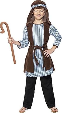 Smiffys Déguisement Enfant Berger, Robe, voile et bâton, Shepherd, Taille 7-9 ans, Couleur: Brun et bleu,