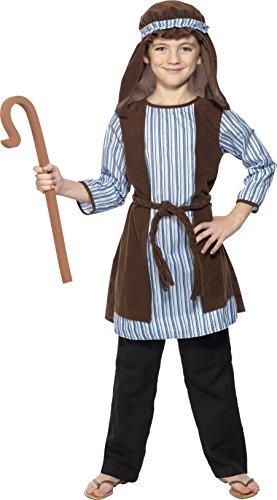 Smiffys Kinder Jungen Schäfer Kostüm, Robe, Kopfteil und EVA-Stab, Größe: S, - Schäfer Kostüm Kinder