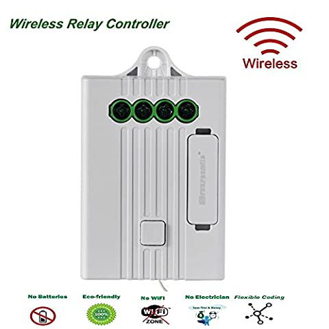 Breezesmile® Remote Relay Controller(Receiver),Easy Installation Receiver Pairing with Wireless Self-powered Switch - Remote Control Ceiling Fans,Light Fixtures,Led Lamps,Appliances,Electronic Devices On/Off,Standard 10A,Max 16A,Fused Protected (Relay Receiver)