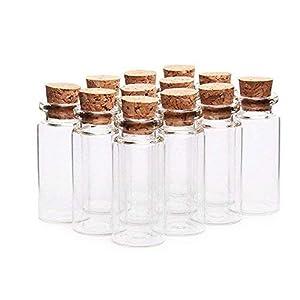 Danmu Art - 30 pezzi, mini bottigliette in vetro con tappo in sughero da 10 ml, 2,2 x 5 cm.