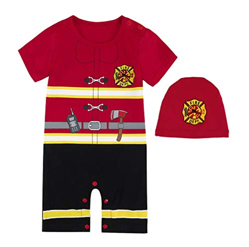 Mombebe Baby Jungen Feuerwehrmann Kostüm Strampler mit Hüte (Feuerwehrmann, 3-6 Monate)