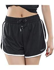 Basisago Pantalones Cortos Mujer Sport Fitness Running Yoga, Pantalones Cortos Sueltos Ocasionales de Malla Elástica Transpirable