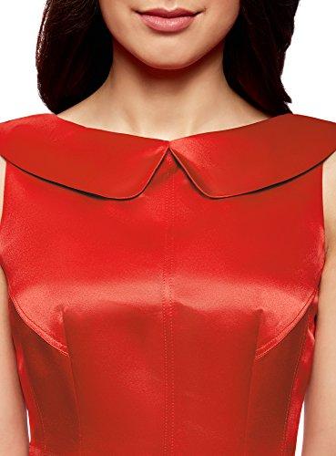 oodji Ultra Damen Satinkleid Rot (4500N)