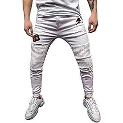 STRIR-Ropa Pantalones Vaqueros Rotos Hombre,Jeans Pantalones Vaqueros Elásticos Skinny Slim Fit Delgados, Pantalones Largos de Mezclilla de Cintura Baja de Pitillo (Blanco-B, L)