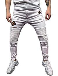 6c7eb99a576d SOMESUN Uomo Magro Allungare Pantaloni di Denim Pieghe Strappato Freyed  Buco Alta Elasticità Slim Fit Pantaloni