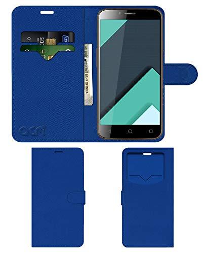 Acm Leather Window Flip Wallet Front & Back Case for Karbonn Quattro L50 Hd Mobile Cover Blue
